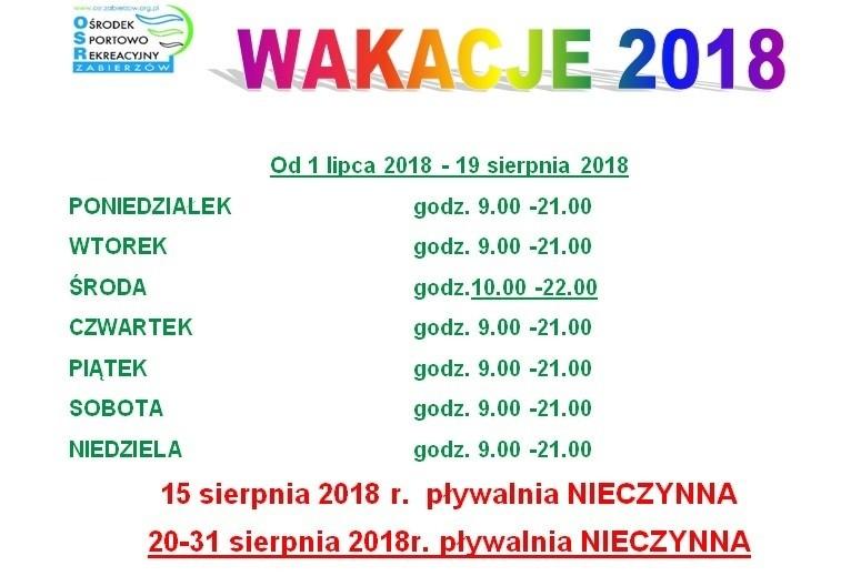 Ośrodek Sportowo Rekreacyjny w Zabierzowie Zmiana godzin otwarcia pływalni WAKACJE 2018
